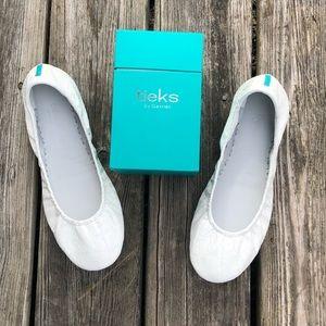 Tieks Diamond White Crocodile Patent Ballet Flats